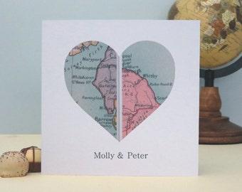 Personalised UK Vintage Map Card - Twin UK Location Valentine's Day, Wedding, Anniversary Card, Romantic Personalised Keepsake Card