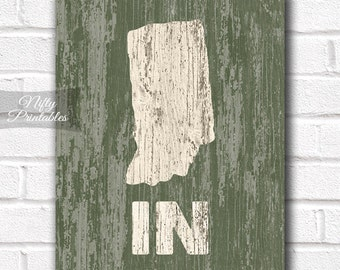Indiana Print - PRINTABLE 8x10 Indiana Poster - Rustic Indiana Art - Indiana Gifts - Distressed Wood Style Indiana State Decor - Shabby Art