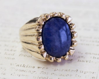 Vintage Genuine Blue Sodalite Bezel Set Ring 18k Gold Plated Unisex Made in USA R1960