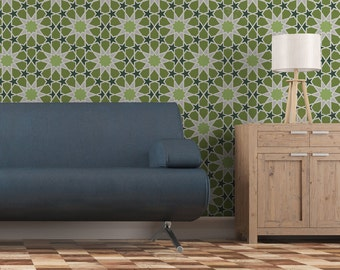 Moroccan Large Geometric Wall Stencil Demna for Easy DIY project Wallpaper look