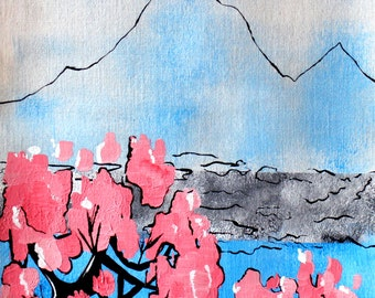 Mountain With Cherry Blossom Japanese Style Painting On Paper