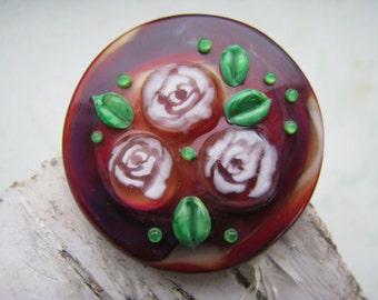 "Lampwork cabochon ""Roses"" handmade by Glassartist Iveta Linde"