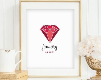 January Birthstone Garnet Print Garnet Birthstone Print January Birthday Jewel Print Red Geometric Print Red Decor INSTANT DOWNLOAD 0076