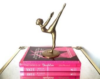 "Vintage 8"" Brass Ballerina - Gold Metallic Metal Ballet Dancer Figurine Statue Sculpture"