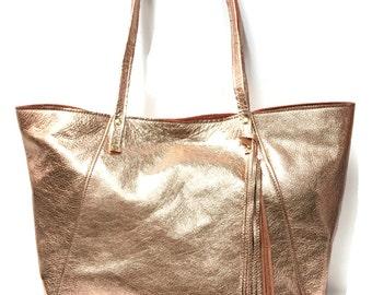 Rose Gold Tote Bag // Large market bag // Slouchy minimal tote // Metallic leather bag