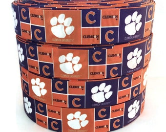 1 inch Grosgrain Clemson Tigers University Ribbon, Clemson Tigers, Clemson Ribbon, Clemson Grosgrain, Ribbon By The Yard by KC Elastic Ties