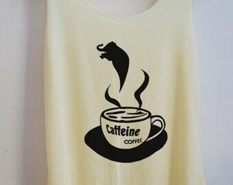 CLEARANCE Funny Caffeine Coffee Tank Top Pop Punk Rock Tank Shirt Vest Women T shirt lady Elephant T-Shirt Size S,M,L