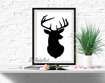 Black and white Deer head print Modern wall art 16x20 8x10 5x7 Large Home decor Stag silhouette decor Woodland printable Deer Office decor