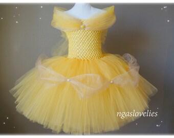 Disney Inspired Belle Dress -Beauty and the beast - Princess Dress - Tutu Dress - Costume Dress - Halloween - Baby, Girl, Kids Dress