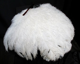 Vintage Genuine 1920's 30's Collectable Antique Large White Ostrich Feather Fan With Faux Tortoiseshell Celluloid Sticks