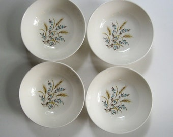 Set of 4 cereal bowls. Canonsburg pottery Allegheny Ware Skyline shape. blue flowers and wheat.