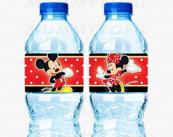 Mickey Minnie Mouse Water Bottle Labels Birthday Party - DIY Party Printable Instant Download