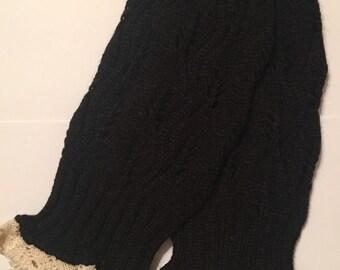 Child/Teen Knit Boot Cuffs Leg Warmers Black