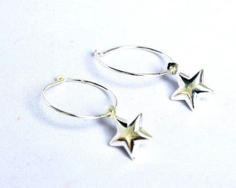 Star earrings - silver star hoop earrings - funky star earrings - Gift for teenager