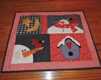 "Mini Snowman Sampler with Two Snowmen, Two Cardinals, a BirdHouse and Star & Moon   24"" x 20"""