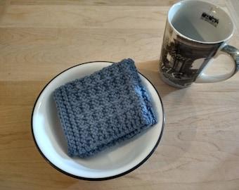 Hand Knit Dish Cloth/Wash Cloth - Blue Jeans  - housewarming gift/ hostess gift/ wedding gift/ bridal shower gift