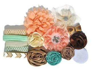 DIY Headband Kit, Baby Shower Station, Gold Coral & Aqua DIY Headband Kit, Make Your Own Headbands, Baby Headband Kit, Baby Shower Game