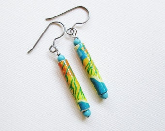 Paper Bead Earrings - Upcycled Earrings - Recycled Earrings - Orange, Yellow, Turquoise Patterned