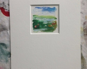 Field with Flowers - Small Original Fine Art 2x2 - O Atherton - Maine