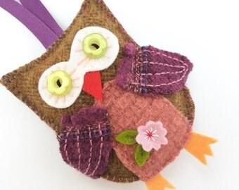 brown owl wool felt ornament