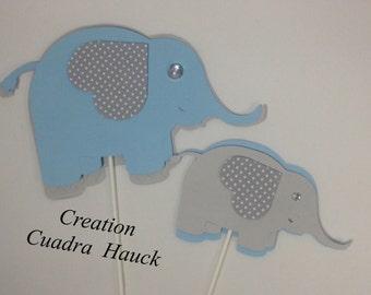 Elephant Baby shower/ Elephant centerpieces/ Elephant theme/ blue and Gray elephant/ It's a Boy