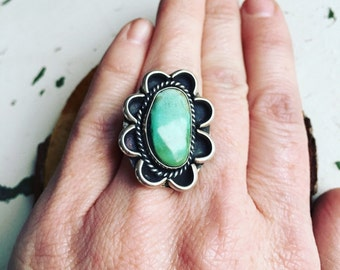 Huge Navajo Sterling & Turquiose Statement Ring