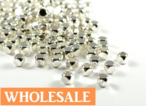 WHOLESALE Square beads, 4mm, cube spacer beads, rounded edge, electroplated sterling silver, light weight  - 100 pcs/ order