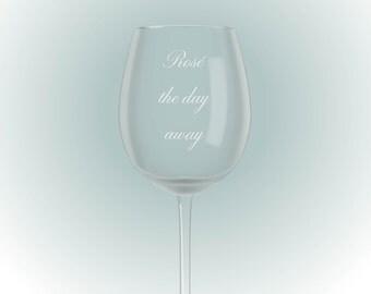 gegraveerd wijnglas, rosé the day away
