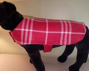 Reversible Fleece Dog Coat, Winter Dog Coat,Red Plaid Dog Coat, Dog Clothing, Dog Apparel