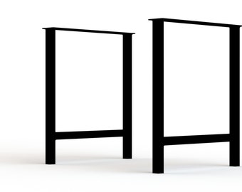 "H Frame Legs. 1.5"" Square Tube. Dining table - Conference table - Desk. Powdercoat Finish, DIY Modern Legs. Metal table legs. Set of 2"