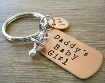Daddy's Baby Girl Keychain with pacifier charm, optional initial disc, ddlg keychain, Daddy's Little Girl, pet gift, ddlg gift, bdsm