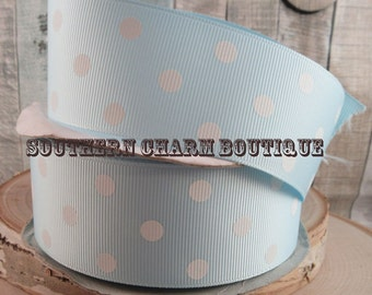 """3 yards of 1 1/2"""" light blue/white polka dot grosgrain ribbon"""
