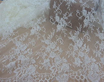 Cream wedding lace ,ivory Chantilly Lace Fabric-150cm wide, Eyelash Lace Trim, Wedding Table Decor,  Floral lace shawl