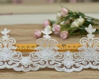1yard Ivory Alencon Lace Trim Embroidered Retro Tulle Lace Wedding Veil Bridal Lace Trim