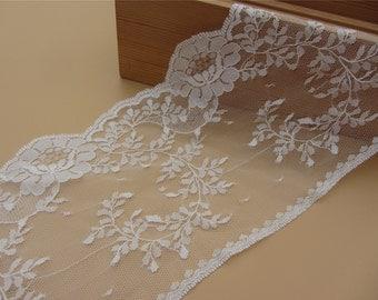 pure white wedding lace trim ,wedding invitation lace trim ,Lace Trim Vintage- 4.9INCH WiDE SeWiNG CRaFTS WeDDiNG,