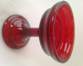 Ruby Red Candle Holder for Pillar Candle, Crimson Blossom Vase, Pedastal Candle Stick