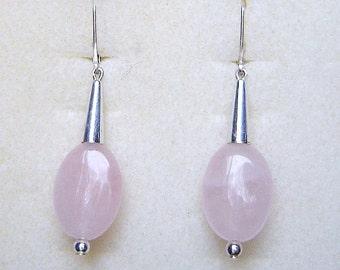 Sterling Silver & Rose Quartz Drop Earrings
