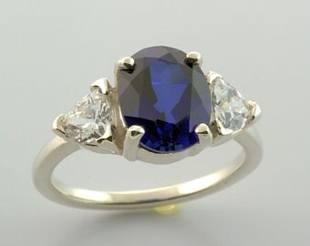 Sterling Royal Blur Sapphire Three Stone Trillion Accent Ring Size 7