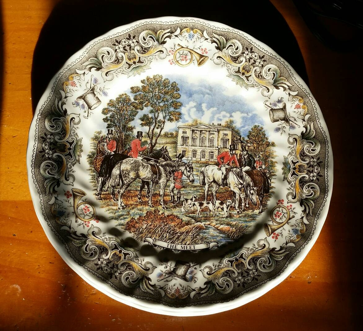 Plate Set 4 Churchill Herrings Hunt Black By