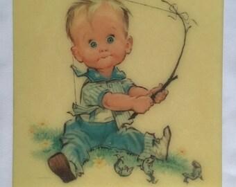 Vintage Celluloid Plastic Pete Hawley Illustration Wall Tile 1962 Boy Fishing