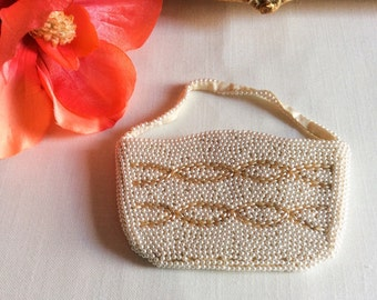 Vtg Pearl-like Beaded Purse/Clutch
