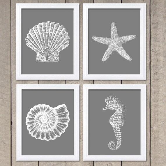 White Nautical Wall Decor : Nautical print ocean art marine grey white set of