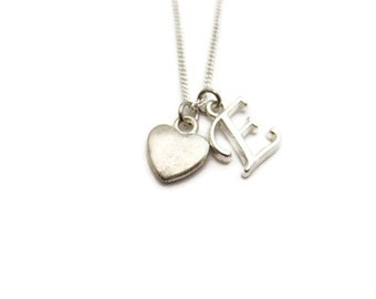 Heart Necklace Initial Necklace Heart Jewelry Customized Romantic Gift Personalized Gifts For Her Letter Necklace Heart Gift