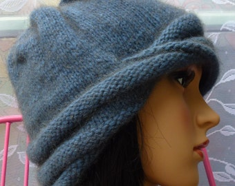 Warm & Trendy Possum Blend Cloche Hat - Denim Blue - with Bling!