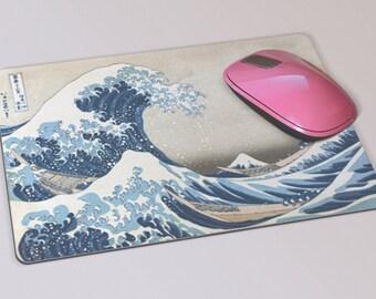 Fabric Mousepad, Mousemat, 5mm Black Rubber Base, 19 x 23 cm - The Great Wave off Kanagawa by Katsushika Hokusai Mousepad Mousemat