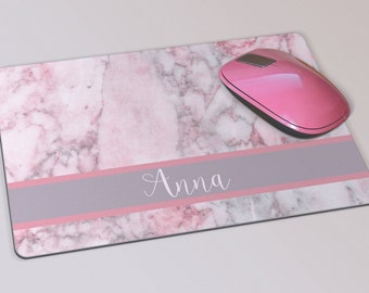 Fabric Mousepad, Mousemat, 5mm Black Rubber Base, 19 x 23 cm - Pink and Grey Marble Pattern Customised Personalised Mousepad Mousemat