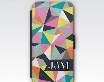 Wallet Case for iPhone 8 Plus, iPhone 8, iPhone 7 Plus, iPhone 7, iPhone 6, iPhone 6s, iPhone 5/5s - Multicoloured Geometric Monogram Case