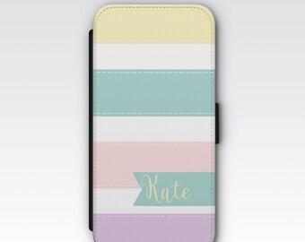 Wallet Case for iPhone 8 Plus, iPhone 8, iPhone 7 Plus, iPhone 7, iPhone 6, iPhone 6s, iPhone 5/5s - Pastel Coloured Stripes Custom Case