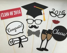 Graduation Party Class of 2016 Photobooth Prop Set of 12