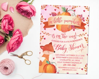 Baby Shower Printable Invitation, 5x7, A Little Pumpkin is On the Way, Fall Baby Shower Invite, Fox, Fall Leaves, Girl Baby Shower